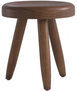 Casa Padrino Luxus Sitzhocker Braun Ø 31 x H. 34 cm - Massivholz Hocker - Runder Mindi Holz Sitzhocker - Luxus Möbel