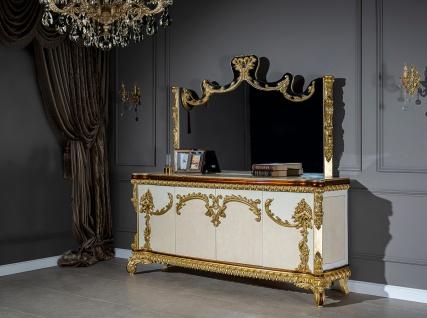 Casa Padrino Luxus Barock Möbel Set Sideboard mit Spiegel - Prunkvoller Massivholz Schrank mit Wandspiegel - Edle Möbel im Barockstil - Luxus Qualität - Vorschau 4