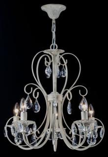 Casa Padrino Barock Kristall Decken Kronleuchter Cream Gold 51 x H 54 cm Antik Stil - Möbel Lüster Leuchter Hängeleuchte Hängelampe