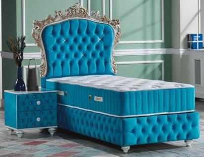 Casa Padrino Barock Schlafzimmer Set Türkis / Weiß / Silber / Antik Gold - Prunkvolles Einzelbett mit Nachttisch - Schlafzimmer Möbel im Barockstil
