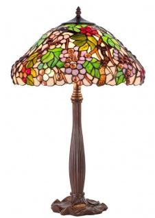 Casa Padrino Luxus Tiffany Tischleuchte Braun / Mehrfarbig Ø 40 x H. 62 cm - Deko Lampe aus 729 Teilen handgefertigt