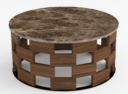 Casa Padrino Luxus Couchtisch Braun / Schwarz / Braun Ø 92 x H. 40 cm - Runder Wohnzimmertisch mit Marmorplatte - Wohnzimmermöbel - Luxus Qualität