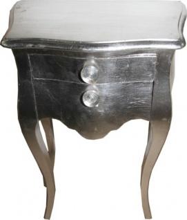 Casa Padrino Barock Kommode Silber 72 x 50 x 30 cm - Nachtschränkchen - Nachtschrank