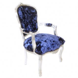 Casa Padrino Barock Salon Stuhl Royalblau Velour Stoff / Silber - Antik Design Möbel - Vorschau 3