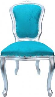 Casa Padrino Luxus Barock Esszimmer Set Türkis / Silber - 1 Esstisch mit Glasplatte und 6 Esszimmerstühle - Made in Italy - Luxury Collection - Vorschau 3