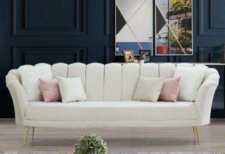 Casa Padrino Designer Art Deco Wohnzimmer 3er Sofa Creme / Gold 190 x 60 x H. 85 cm - Art Deco Wohnzimmer Möbel