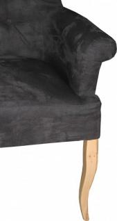 Casa Padrino Designer Chesterfield Sitzbank / Sofa Dunkelgrau / Holzfarben - Retro Salon Möbel Barock - Vorschau 2