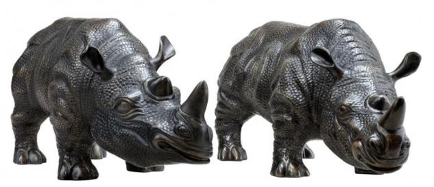 Casa Padrino Luxus Bronzefiguren 2er Set Nashörner 15 x 44, 5 x H. 20 cm - Edel & Prunkvoll