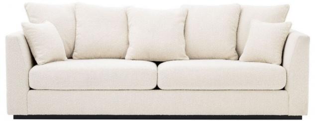 Casa Padrino Luxus Wohnzimmer Sofa Cremefarben / Schwarz 255 x 100 x H. 90 cm - Couch mit 7 Kissen - Luxus Qualität