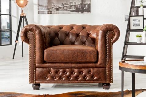 Chesterfield Spaltleder Sessel Vintage Braun aus dem Hause Casa Padrino - Lounge Sessel - Vorschau 3