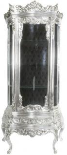 Casa Padrino Barock Vitrine Silber / Schwarz 80 x 40 x H. 200 cm - Prunkvoller Barock Vitrinenschrank mit Glastür und wunderschönen Verzierungen - Barock Möbel