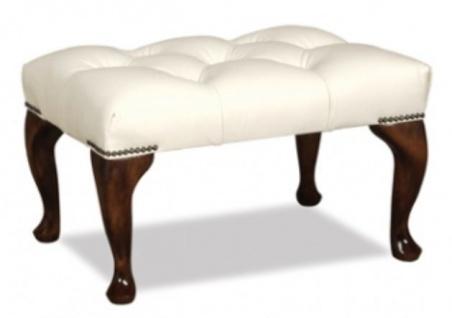 Casa Padrino Chesterfield Echtleder Hocker 60 x 40 x H. 45 cm - Luxus Möbel