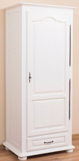 Casa Padrino Landhausstil Schlafzimmerschrank / Kleiderschrank mit Tür und  Schublade Weiß 79, 5 x 54 x H. 186 cm - Schlafzimmermöbel