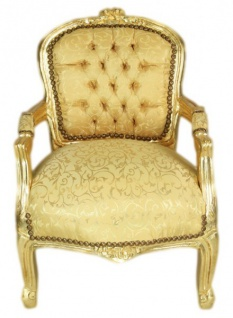 Casa Padrino Barock Kinder Stuhl Gold Muster /Gold - Armlehnstuhl - Antik Stil Möbel