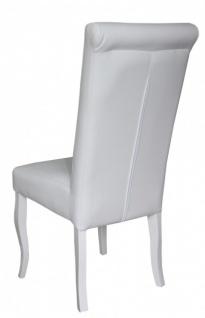 Casa Padrino Esszimmer Stuhl Weiß / Weiß Kunstleder - Barock Möbel - Vorschau 2