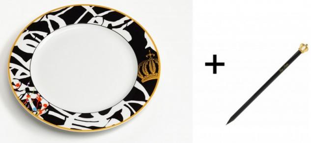 Harald Glööckler Porzellan Teller 23 cm Mod1 + Luxus Bleistift Casa Padrino - Barock Dekoration