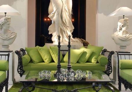 Casa Padrino Luxus Barock Sofa Grün / Schwarz 212 x 87 x H. 77 cm - Handgeschmiedetes Schmiedeeisen Sofa mit Kissen - Wohnzimmer Sofa - Garten Sofa - Terrassen Sofa - Barock Möbel