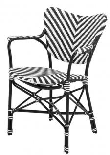 Casa Padrino Designer Gartenstuhl mit Armlehnen schwarz / weiß - Luxus Gartenmöbel