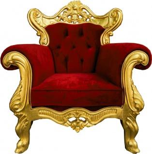 Casa Padrino Luxus Barock Sessel Bordeauxrot / Gold - Prunkvoller Wohnzimmer Sessel - Handgefertigte Barock Wohnzimmer Möbel