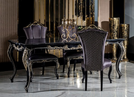 Casa Padrino Luxus Barock Esszimmer Set Lila / Schwarz / Gold - 1 Esstisch & 6 Esszimmerstühle - Barock Esszimmer Möbel - Edel & Prunkvoll