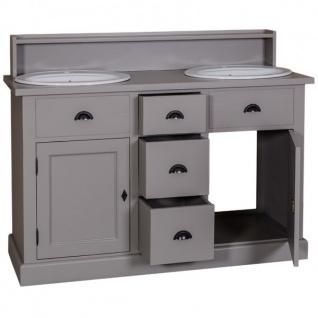 Casa Padrino Landhaus Stil Waschschrank Waschtisch inkl 2 Waschbecken mit Schubladen und Schranktüren - Bad Schrank Massivholz - Vorschau 2
