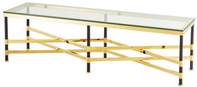 Casa Padrino Couchtisch Gold / Schwarz 150 x 40 x H. 42, 5 cm - Luxus Wohnzimmertisch mit Glasplatte