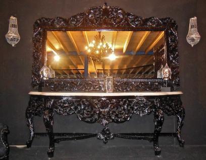 Riesige Casa Padrino Barock Spiegelkonsole Schwarz mit weißer Marmorplatte - Luxus Wohnzimmer Möbel Konsole mit Spiegel