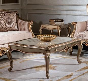 Casa Padrino Luxus Barock Couchtisch Weiß / Silber / Gold - Handgefertigter Massivholz Wohnzimmertisch - Wohnzimmer Möbel im Barockstil