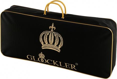 Harald Glööckler Designer Seiden Luxus 3 Kammer Kopfkissen 80 x 80 cm Schwarz / Gold + Casa Padrino Luxus Barock Bleistift mit Kronendesign - Vorschau 4