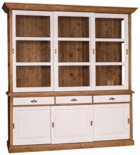 Casa Padrino Landhausstil Küchenschrank Braun / Antik Weiß 206 x 53 x H. 219 cm - 2 Teiliger Küchenschrank mit 6 Schiebetüren und 3 Schubladen