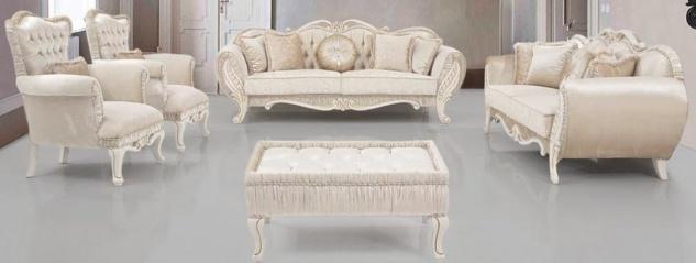 Casa Padrino Luxus Barock Wohnzimmer Set Beige / Creme / Gold - 2 Sofas & 2 Sessel & 1 Beistelltisch - Wohnzimmer Möbel im Barockstil - Edel & Prunkvoll