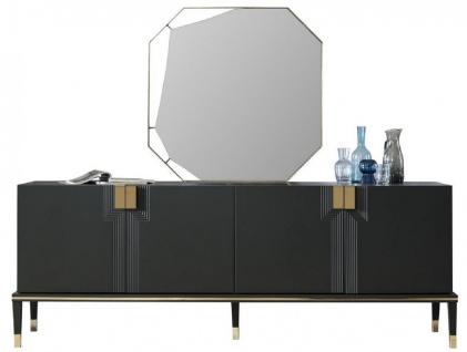 Casa Padrino Luxus Möbel Set Schwarz / Gold - 1 Sideboard mit 4 Türen & 1 Spiegel - Moderne Massivholz Möbel - Luxus Kollektion