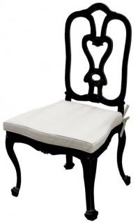 Casa Padrino Luxus Jugendstil Gartenstuhl mit Sitzkissen Schwarz / Hellgrau 56 x 59 x H. 100 cm - Handgeschmiedeter Esszimmer Stuhl - Esszimmer Garten Terrassen Möbel