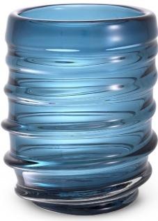 Casa Padrino Luxus Deko Glas Vase Blau Ø 22 x H. 30 cm - Elegante mundgeblasene Blumenvase - Luxus Deko Accessoires