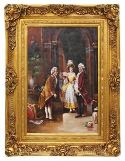 Casa Padrino Barockstil Öl Gemälde Die Konfrontation Gold Prunk Rahmen 100 x H. 130 cm - Barock Möbel