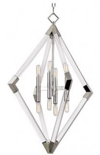 Casa Padrino Luxus Hängeleuchte Silber 59, 7 x 59, 7 x H. 83, 8 cm - Pendelleuchte mit Acryl-Diamantrahmen und Metallakzenten