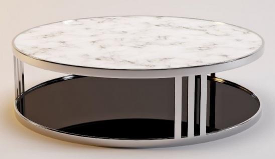 Casa Padrino Luxus Couchtisch Silber / Weiß / Schwarz Ø 115 x H. 33 cm - Runder Wohnzimmertisch mit Marmorplatte und getönter Glasplatte - Luxus Möbel - Vorschau 2