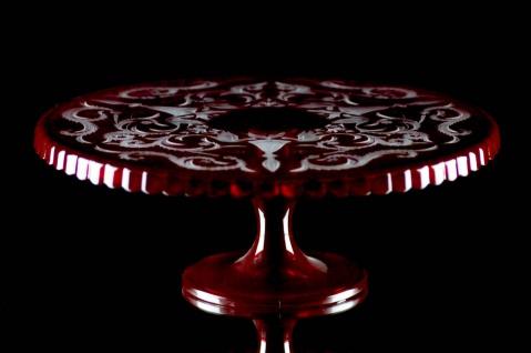 Casa Padrino Luxus Kuchenteller Rot / Silber Ø 32 x H. 12 cm - Handgefertigte und handgravierte Glas Kuchenplatte - Hotel & Restaurant Accessoires - Luxus Qualität