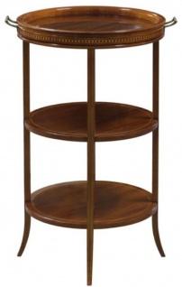 Casa Padrino Luxus Beistelltisch Braun 54 x 47 x H. 80 cm - Runder Tisch mit Glasplatte und abnehmbarem Tablett