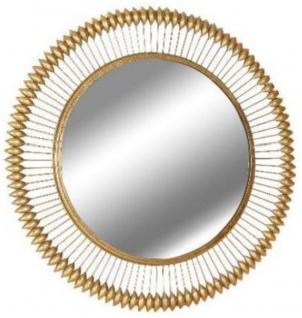 Casa Padrino Designer Spiegel Gold Ø 90 cm - Moderner mit Goldfolie pulverbeschichteter Metall Wandspiegel - Luxus Deko Accessoires
