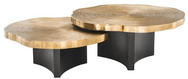 Casa Padrino Luxus Couchtisch Set Messingfarben / Schwarz - Luxuriöse Wohnzimmertische mit Tischplatten im Baumscheiben Design