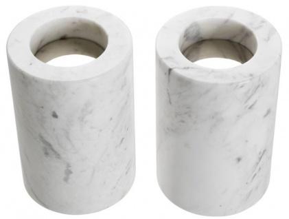 Casa Padrino Luxus Marmor Teelichthalter Set Weiß Ø 10 x H. 15 cm - Luxus Qualität - Vorschau 3