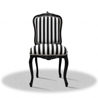Casa Padrino Barock Salonstuhl Schwarz Weiß Streifen 50 x 50 x H. 100 cm - Hotel Kollektion