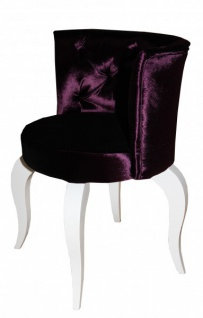 Casa Padrino Barock Salon Stuhl Lila / Weiß - Designer Sessel - Luxus Qualität GH