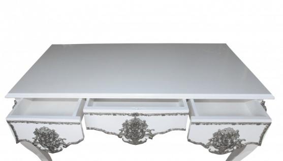 Casa Padrino Luxus Barock Schreibtisch Weiß / Silber Sekretär Luxus Möbel - Vorschau 5
