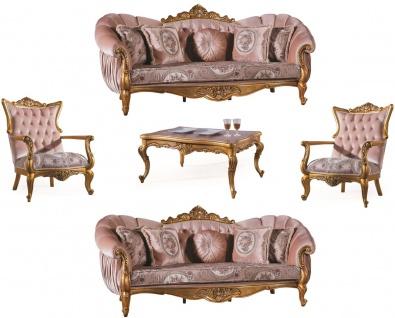 Casa Padrino Luxus Barock Wohnzimmer Set Rosa / Gold - 2 Sofas & 2 Sessel & 1 Couchtisch - Wohnzimmer Möbel - Edel & Prunkvoll