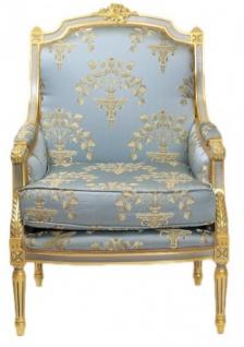 Casa Padrino Barock Lounge Thron Sessel Empire Blau-Grau Gold Muster / Gold - Ohren Sessel - Ohrensessel Tron Stuhl - Vorschau 2