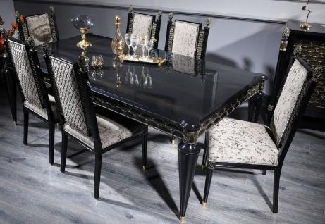 Casa Padrino Luxus Barock Esstisch Schwarz / Gold - Handgefertigter Massivholz Esszimmertisch - Barock Esszimmer Möbel - Edel & Prunkvoll