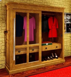 Casa Padrino Luxus Kleiderschrank B 226 x H 220 cm Haute Couture Schlafzimmer Schrank mit Glas Schiebetür - Art Deco Jugendstil Hotel Möbel