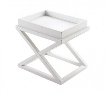 Casa Padrino Luxus Art Deco Designer Birkenholz Beistelltisch Weiß - Luxus Hotel Tisch
